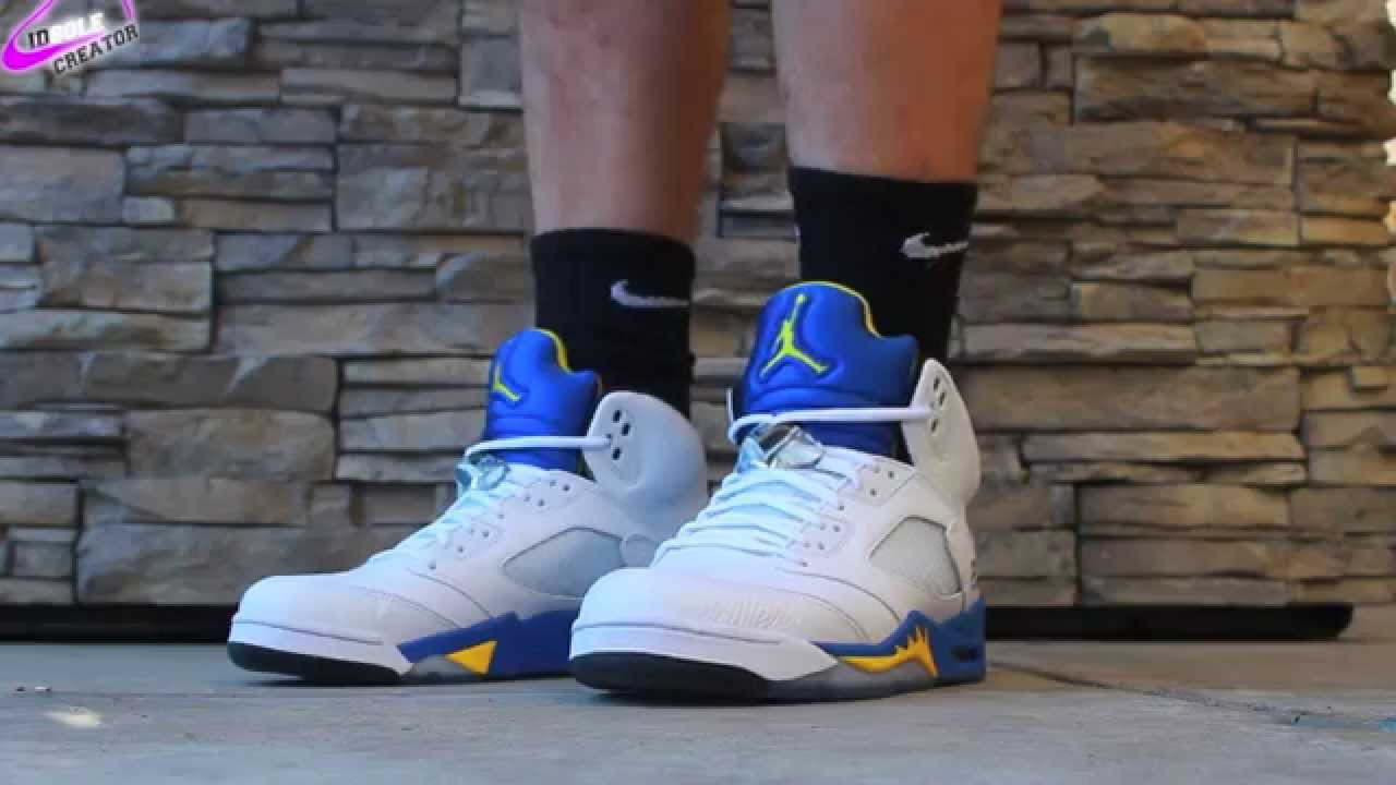 f8f6603ebdb3 Nike Air Jordan Retro 5 Laney ON FEET WITH NIKE SOCKS! - YouTube