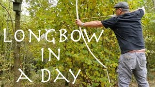 Longbow in a Day. Novice makes an ash longbow in a day. Beginner bowyer in the woods.