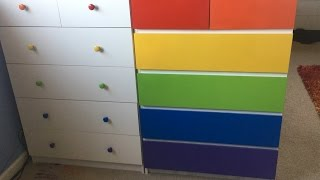 RAINBOW Dresser DIY with Spray Paint - Time Lapse
