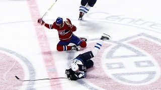 Radulov and Laine connect on big collision at centre ice