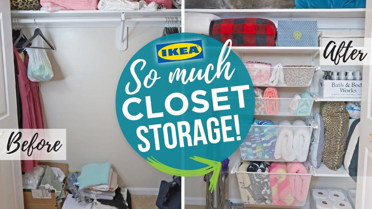 Linen Closet Makeover   Konmari Linen Closet Organization   Ikea Algot  Closet Transformation