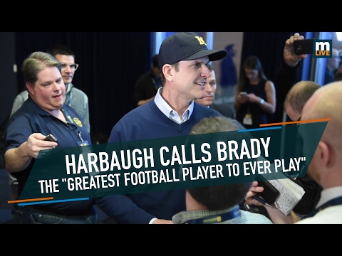 "Jim Harbaugh calls Tom Brady the ""greatest football player to ever play"""