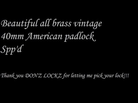 (436) Beautiful Vintage All Brass 40mm American Padlock Spp'd