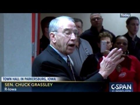 Senator Grassley Addresses Constituents Concerns At Town Hall In Parkersburg Iowa