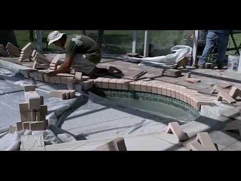 over an existing concrete pool deck with a new remodel brick coping