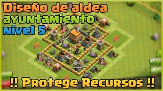 Diseño de Aldeas AYUNTAMIENTO 5 | Proteger Recursos | Clash Of Clans ESPAÑOL