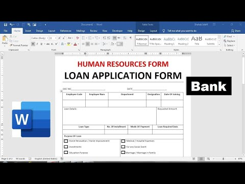 How To Make bankloan application form in Ms Word | simple loan application form