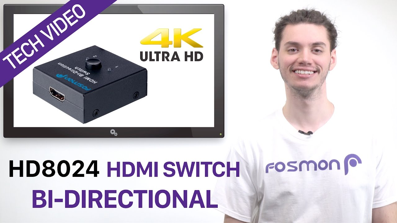 2x1 or 1x2 Ultra HD 4K HDMI Bi-Directional Switcher & Splitter, Fosmon  HD8024 Supports 3D and 1080P