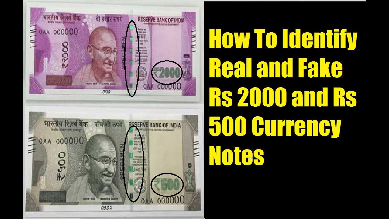 Real Rs Fake 500 Notes Currency 2000 And