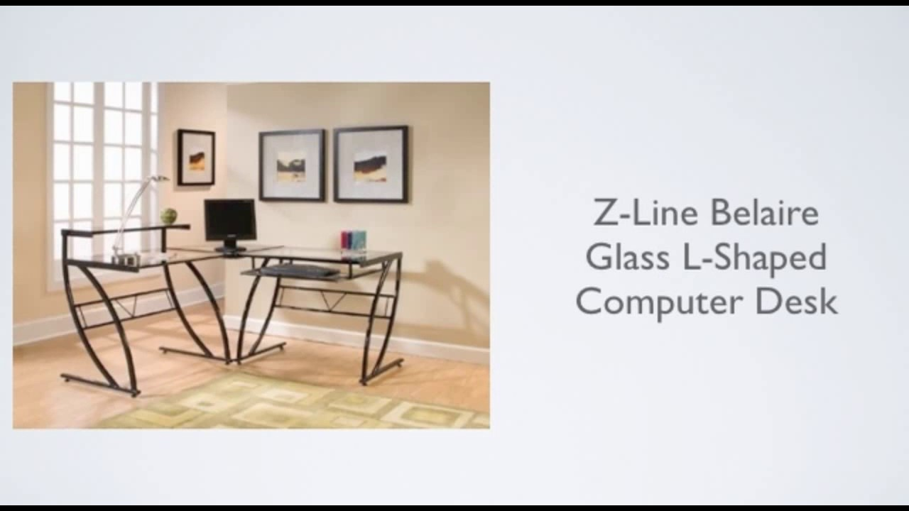 z line belaire glass l shaped computer desk review youtube rh youtube com L-shaped Desk Glass Black z-line belaire glass l-shaped computer desk