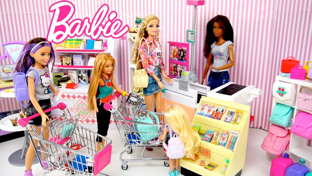 Barbie Dolls Go School Supply Shopping   Supermarket Toy Store For Kids