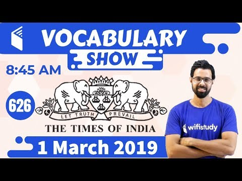 8:45 AM - The Times Of India Vocabulary with Tricks (1 March, 2019) | Day #626