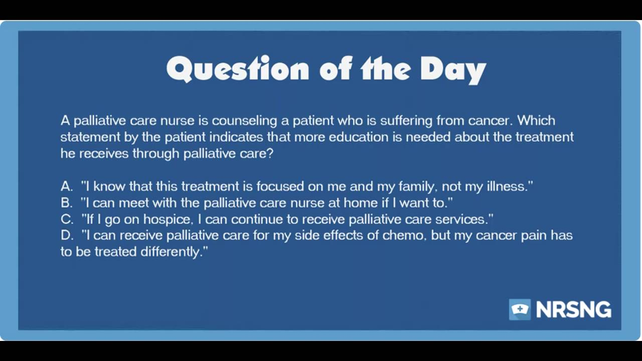 NCLEX Practice Questions: Palliative Care for and Oncology Patient  (Oncology/Basic Care and Comfort)