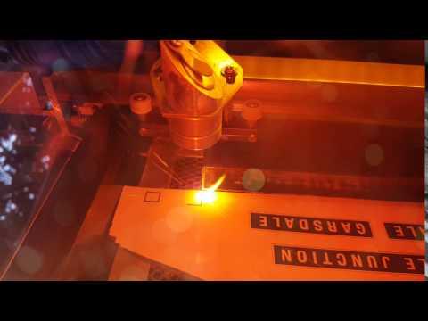 Laser cutting on Traffolite.