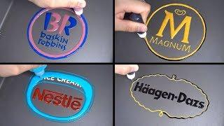 Ice Cream Brand logo Pancake Art - Baskin Robbins, Nestle, Magnum, Häagen Dazs
