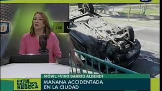 Un auto volcó tras chocar con un poste en el Parque Las Heras