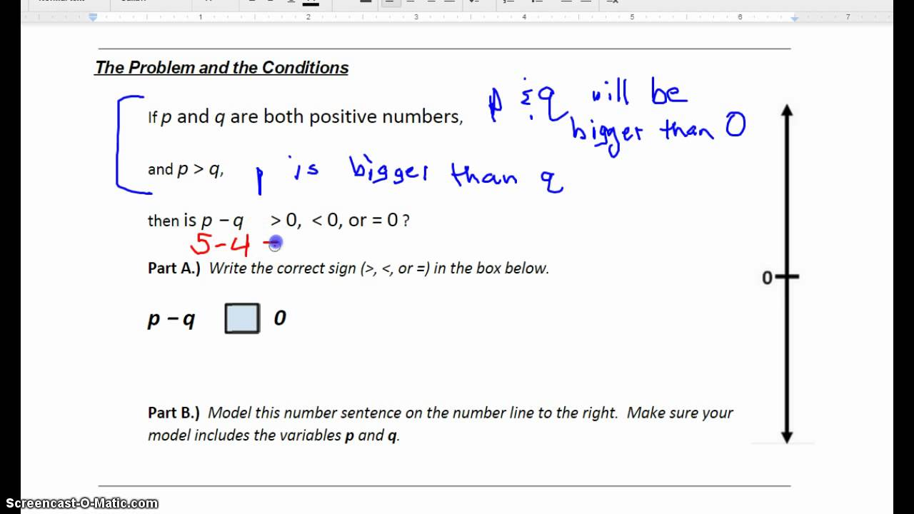Abstract Addition or Subtraction - p and q