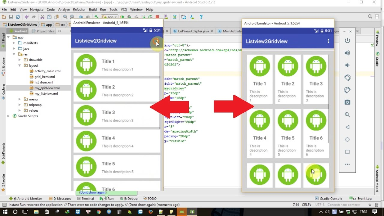 Android tutorial: Switching between Listview and Gridview in Android at  runtime