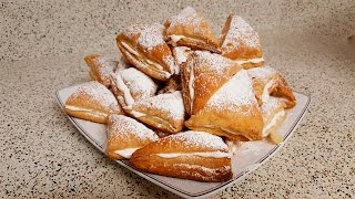Слойки с кремом Десерт Puff pastries with cream dessert