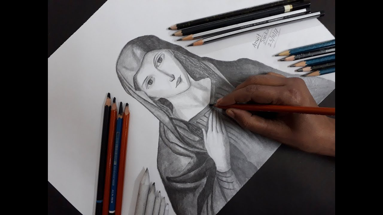 How to draw mary mother of jesus step by step