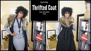 Upcycle a Thrifted coat into a Sleeveless Coat