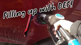 Ram EcoDiesel DEF fill - Filling the DEF Tank at the Truck Stop DEF Pumps