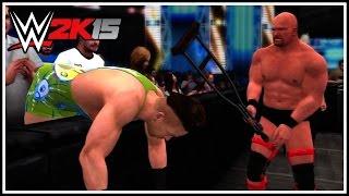 WWE 2K15 - Epic Falls Count Anywhere Match! Stone Cold vs Rob Van Dam (WWE 2K15 Gameplay)