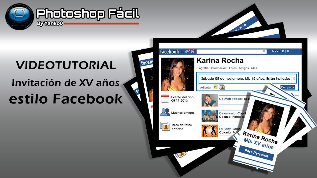 Invitación De Xv Años Estilo Facebook Photoshop Yanko0