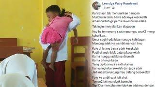 Viral Bocah SD Belajar di Sekolah Sambil Momong Adik Perempuan, Sang Guru Salut dan Tak Melarang