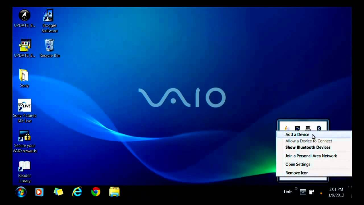 VAIO® PC - How to connect a Bluetooth device