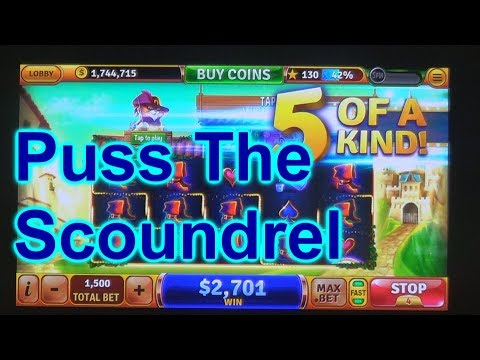 """HOUSE OF FUN Casino Slots How To Play """"PUSS THE SCOUNDREL"""" On Your Cell Phone"""