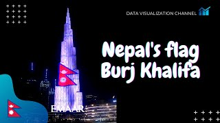 Nepal's flag🇳🇵on World's tallest building Burj Khalifa in Constitution day - Dubai, UAE, Nepali flag