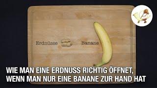 Tutorial: Wie man eine Erdnuss mit einer Banane öffnet