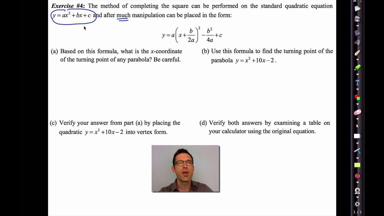 Common Core Algebra II Unit 6 Lesson 8 Completing the Square and Shifting  Parabolas