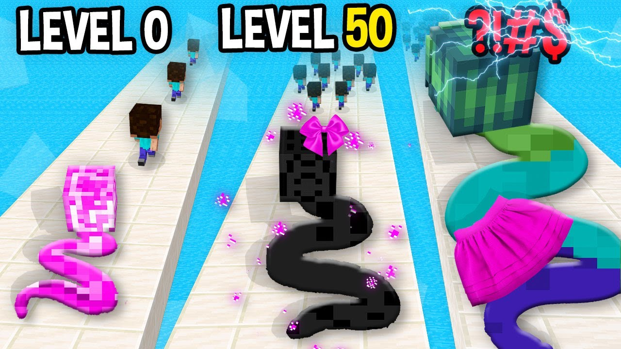 Monster School: Snake Master 3D GamePlay Mobile Game Max Level Noob Pro Hacker - Minecraft Animation