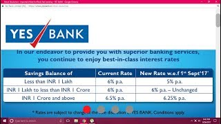 yes bank change  interst rate 1 sep 2017