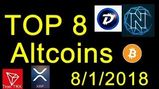 Top 8 Breakout Cryptocurrencies August 2018! 6x - 60x Profit Potential! Top 8 Crypto AltCoins