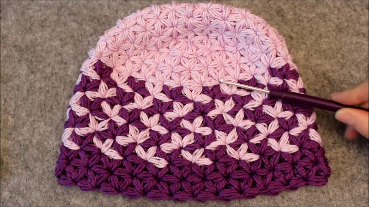 Triangle Star Stitch Hat - Beanie - Two Colors - Falling Leafs - Puffed Star  Stitch - Part 2 - YouTube 47525b85c55