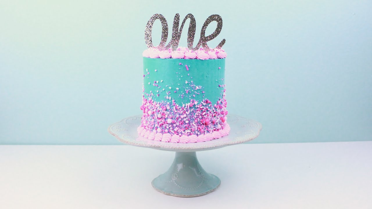 Turqoise Cake with Pink sprinkles