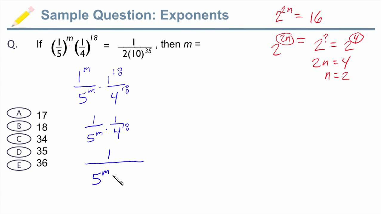 GMAT Exponents - Sample GMAT Question with Exponents - YouTube