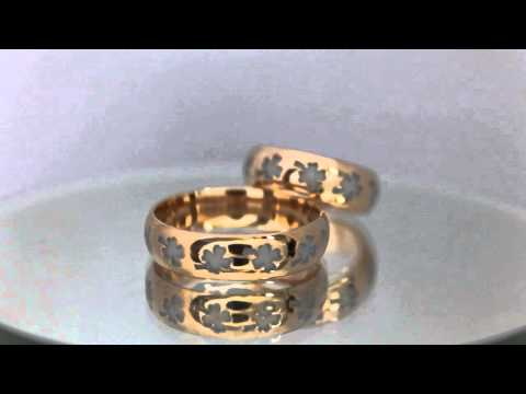 Парные обручальные кольца с четырехлистным клевером. Ювелирная студия Русский символ