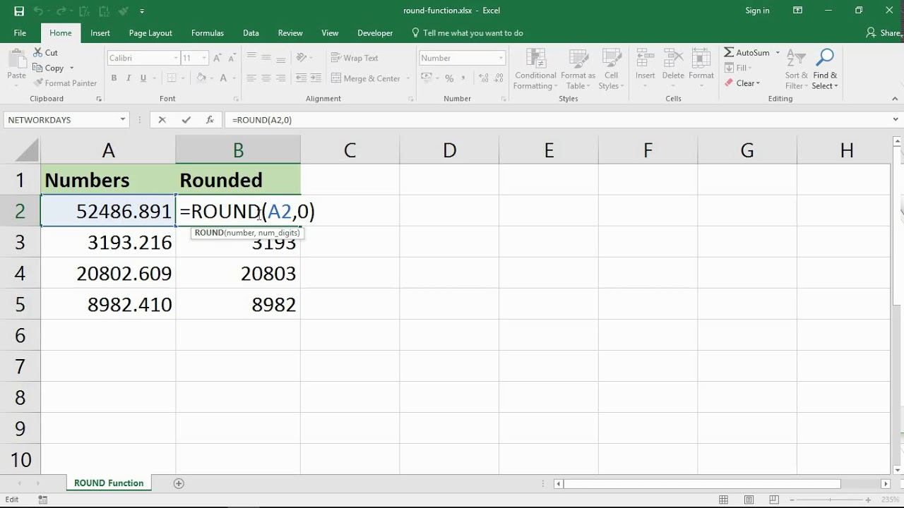 using the excel round function to round numbers in excel