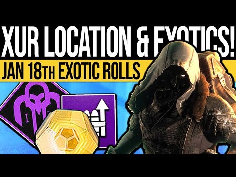 Destiny 2 | XUR LOCATION & EXOTIC ROLLS! Triple Valor, Armor Perk Rolls & Weapon! (18th Jan 2019) thumbnail
