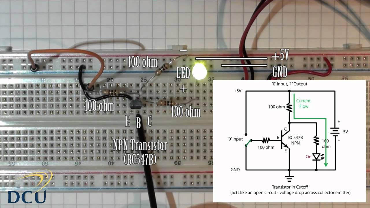 small resolution of experiments 2 1 logic gates not gate using a single transistor youtube