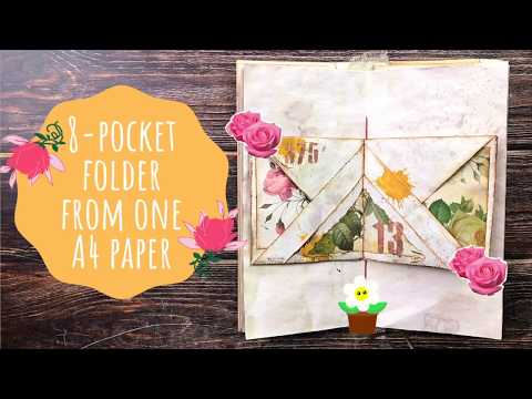 Easy 8-Pocket Folder Tutorial From ONE A4 Sheet Of Paper For Your Junk Journal