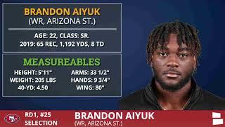 San Francisco 49ers Select WR Brandon Aiyuk From Arizona State Pick #25 - 1st Round O2020 NFL Draft