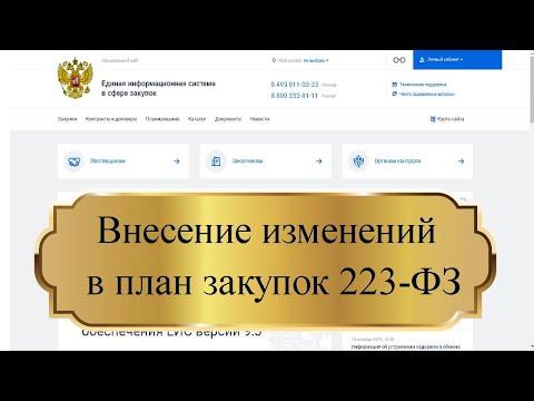 Внесение изменений в план закупок 223 ФЗ