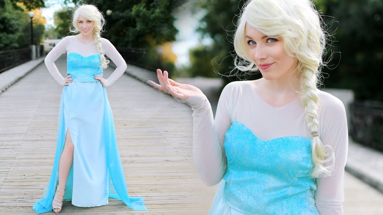sc 1 st  YouTube & DIY ELSA FROZEN COSTUME - ADULT u0026 CHILD - YouTube