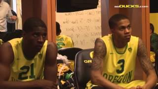 Ducks vs. #3 Arizona Men's Basketball Highlights & Locker Room Sch