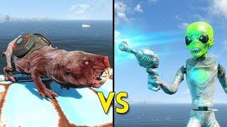 Fallout 4 - 100 SUICIDE MOLE RATS vs 25 ANIMATRONIC ALIENS - Battles 58